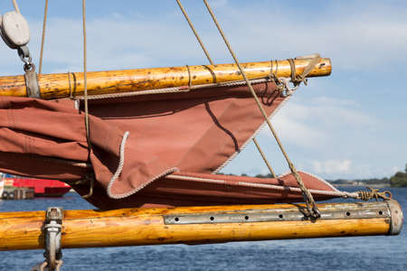 gaff: Boom and gaff a large sailing ship in the harbor of Svendborg, Fyn, Denmark