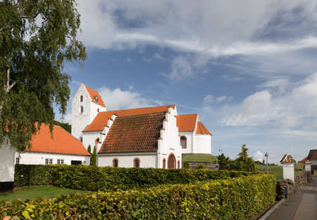 pitched roof: Little church of Lindelse on Langeland Stock Photo