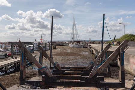 slipway: Slipway in the harbor of Lohals, Langeland Stock Photo