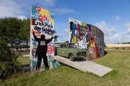 Parts of the Berlin Wall in an exhibition in Bagenkop, Denmark