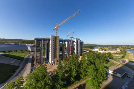 ship lift: Overview of the Ship lift construction site in Niederfinwo