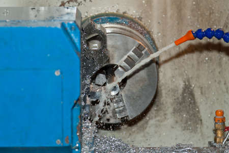 tool chuck: Chuck of a lathe with oil supply Stock Photo