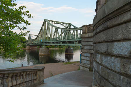 demarcation: Glienicke Bridge west side with wall of the staircase Stock Photo