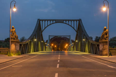 lanes: Lanes on the Glienicke Bridge in Potsdam at night