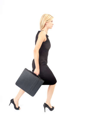 Hurl: Young woman with briefcase running to the right