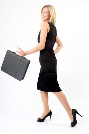 Hurl: Young woman with folder goes in black dress