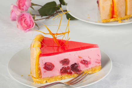 cherry pie: Cherry pie with sugar decoration and roses Stock Photo