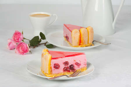 fruitcake: Cherry pie with jelly and coffee