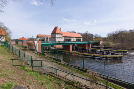 canal house: lock house on the Teltow Canal in Kleinmachnow Stock Photo