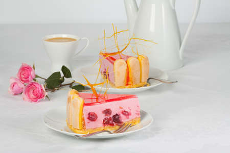 gels: Cherry pie with sugar decorations and coffee