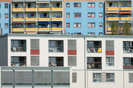 staggered: Apartment buildings in Potsdam staggered close Stock Photo
