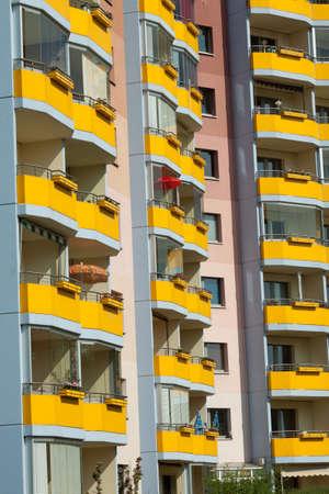 prefabricated buildings: Yellow balconies in prefabricated buildings in Potsdam