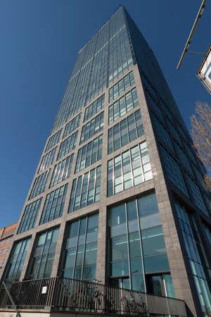 alt: Alliance skyscraper on the River Spree in Alt Treptow Editorial