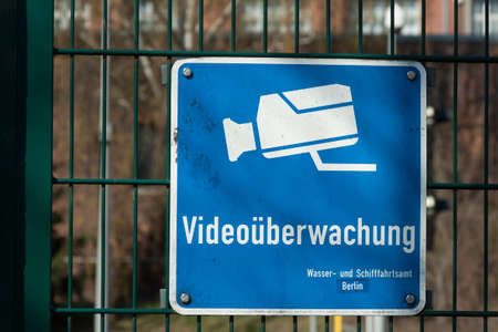 treptow: Sign indicating video surveillance Stock Photo