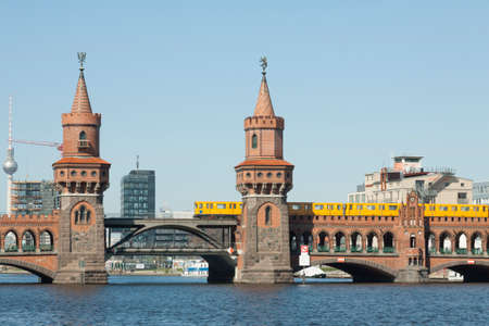 treptow: Towers of Oberbaumbrcke before the TV Tower