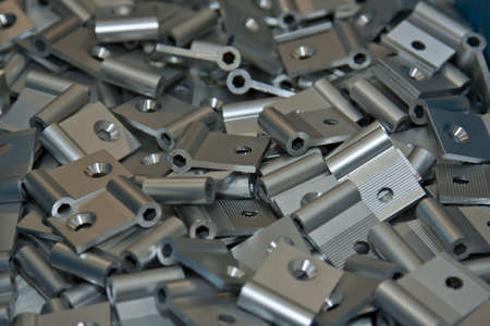 metal parts: Aluminum hinges in a box factory
