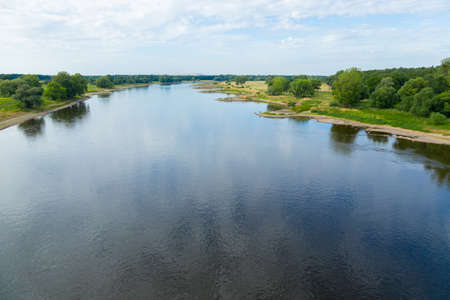 stabilization: Elbe landscape with bank stabilization near Magdeburg Stock Photo