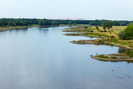 breakwaters: Curved banks of the river Elbe, breakwaters and indentations