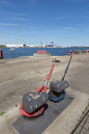 mooring bollards: Two bollards and two mooring ropes for the ferry to Denmark