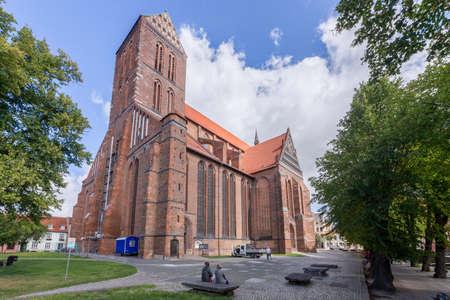 totaled: St. Nikolai Church in downtown Wismar Mecklenburg-Vorpommern