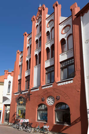 restored: Restored old house in Wismar downtown with red facade