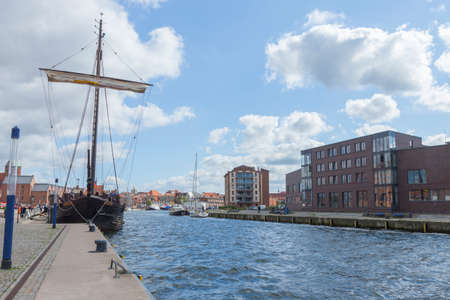 mooring bollards: Large historic sailing ship at the quay in the old port of Wismar Mecklenburg-Vorpommern Editorial