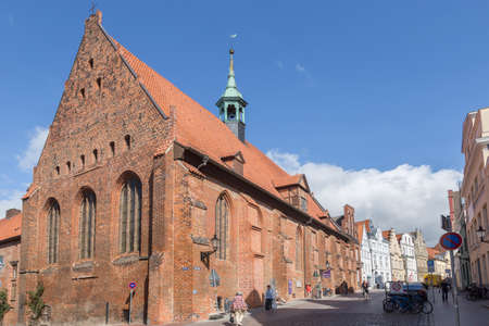 totaled: Holy Spirit Church with row of houses in the city of Wismar Mecklenburg-internal Vorpommern