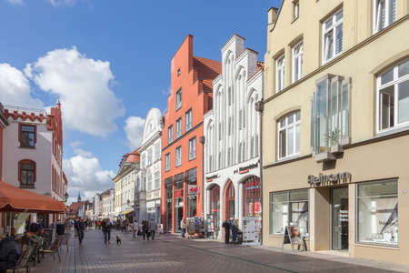house gables: Shopping street with historic houses in the center of Wismar Mecklenburg-Vorpommern