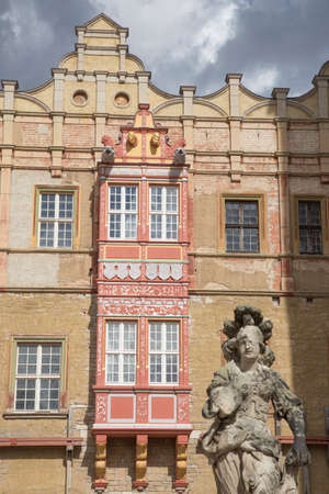front stoop: oriel at Castle Bernburg with a statue in front of it Editorial