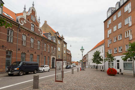 gables: Paved square in the center of Nykobing F. Denmark