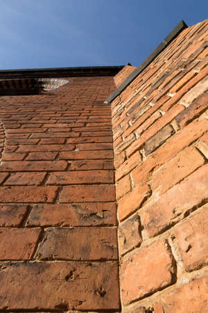 steep: Steep brick wall with joints and edges Stock Photo