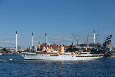 royal family: Royal Yacht of the Danish royal family in Copenhagen Harbour Editorial