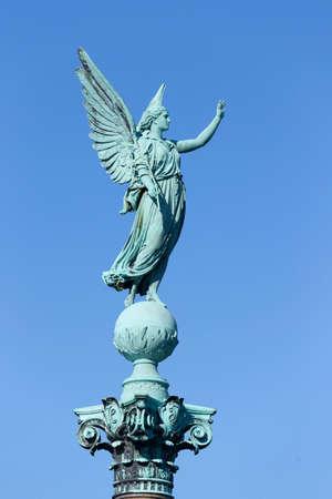 verdigris: Angel figure on the Ivar Huitfeldt Column in Langelinie Park