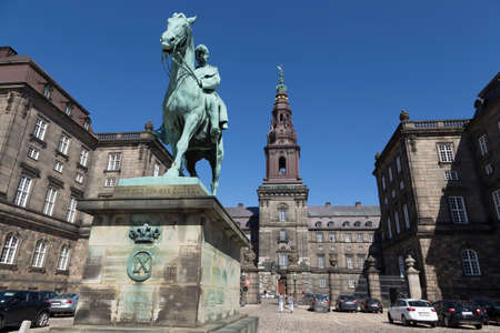crown spire: Equestrian statue of Christian IX of Christiansborg Palace Editorial