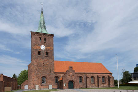 totaled: Frontal view of the main church in Rodby Lolland Denmark