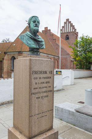 totaled: Statue with socket of King Frederik VII Stock Photo