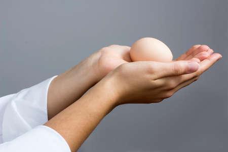quite: Sensitive females hands holding quite a big egg. Stock Photo