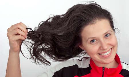 zerzaust: Portr�t eines jungen M�dchen mit zerzausten Haaren Lizenzfreie Bilder