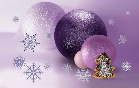 bisquit: Four balls, bisquit and snowflakes in a pink background Stock Photo