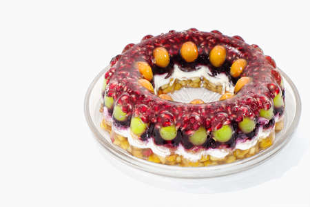 Jelly cake with fruits photo