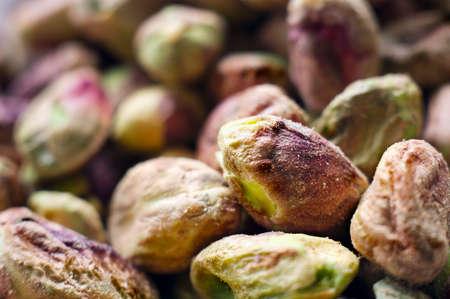 pista: Close view of pistachio nuts kernels Stock Photo
