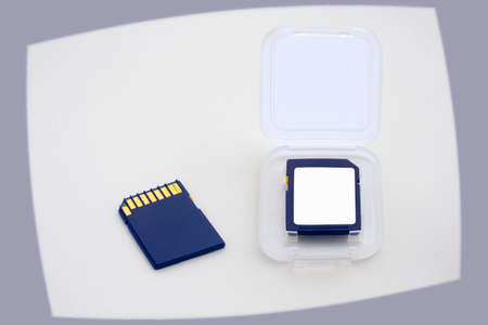 teck: Two blue memory cards and card box Stock Photo