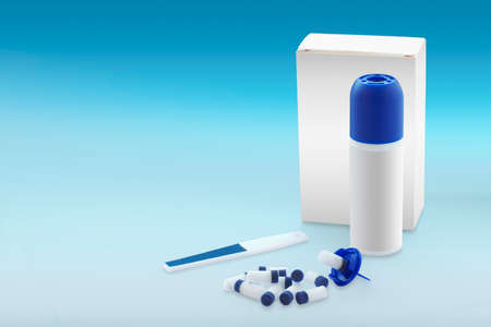 wart: Wart healing kit with nitrogen in a blue gradient background Stock Photo