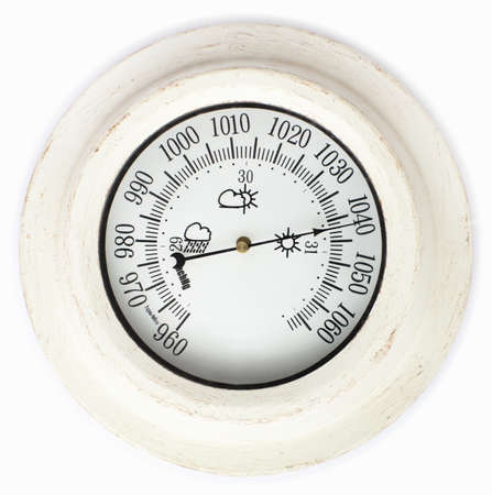 atmospheric pressure: Close view of barometer in a white background Stock Photo