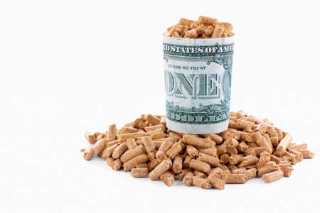 wood pellets: One dollar banknote and wood pellets in a white background Stock Photo