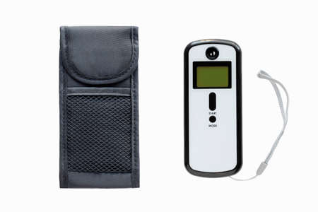 sobriety: Breath analyzer and a case isolated on a  white background