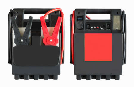 Auto Jump starter booster isolated on a white background Imagens