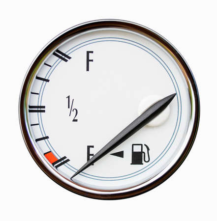 tanks: Gauge of level of fuel in the car isolated on white. An arrow indicates empty tank.