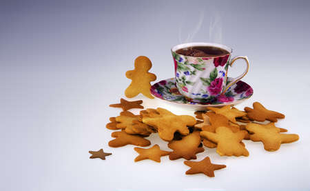 pain: Many home made cookies and a cup of coffee in a gradient background