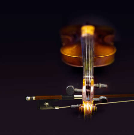 fiddlestick: Close view of old violin with fiddlestick in a black background